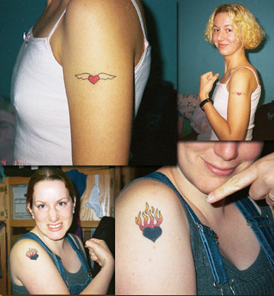 Sisters get Candy & Devil Doll heart tattoos!